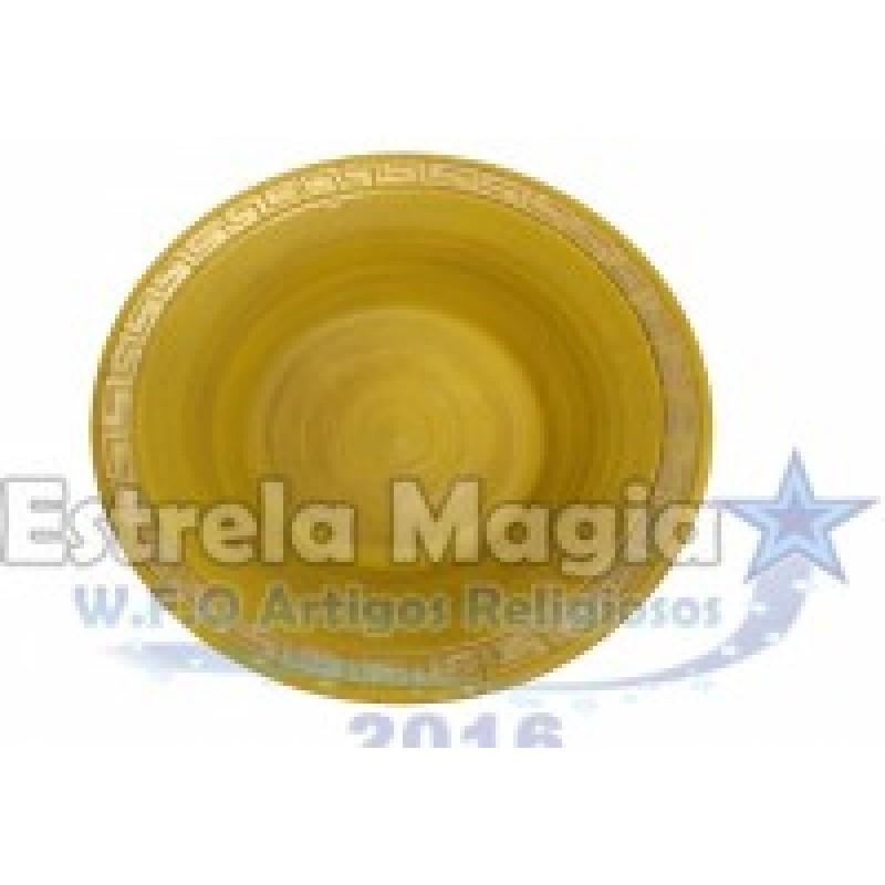 Bacia de Barro Africana Amarelo com Dourado Nº 0