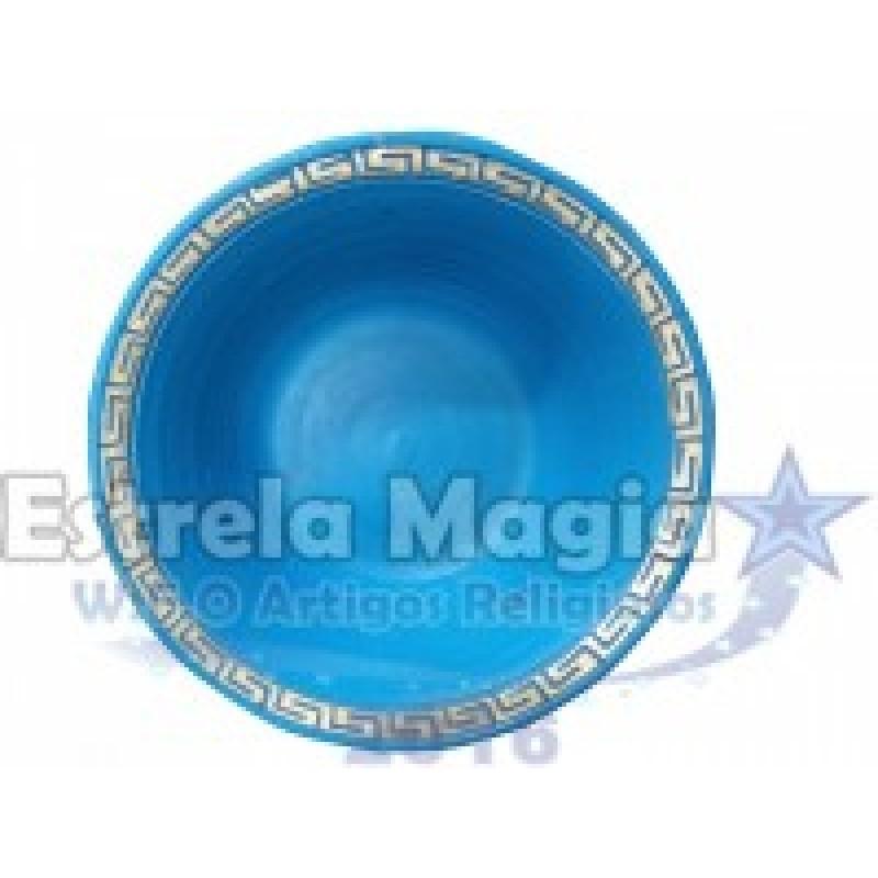 Bacia de Barro Africana Azul Claro com Dourado Nº 0