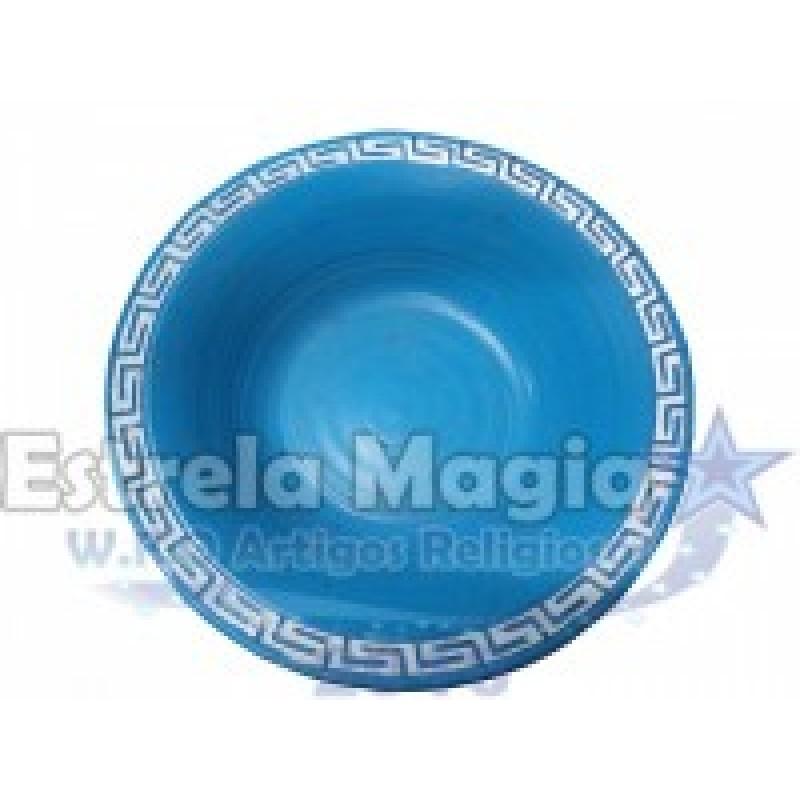 Bacia de Barro Africana Azul Claro com Prata Nº 1
