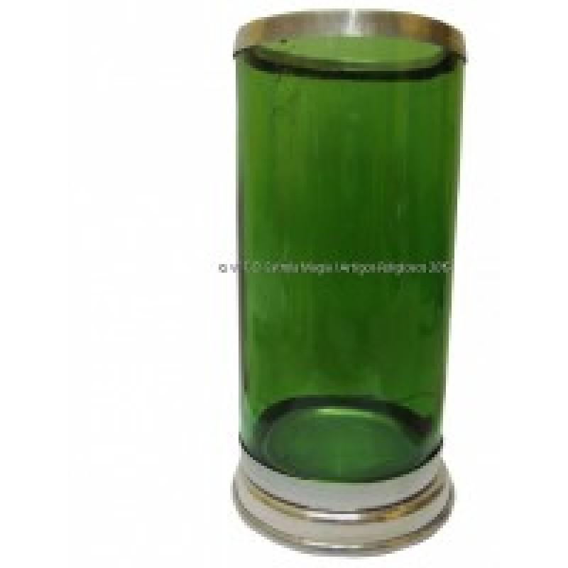 Copo para velas 7 dias com base e boca de aluminio verde escuro