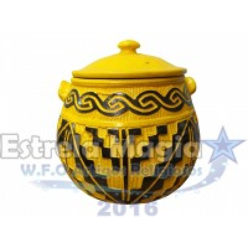 Panela de Barro Africana Amarela com Preta